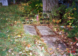 Gravestones of Timothy and Lois Bemis before they were reset.
