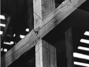 Mortise and tenon joints used in the barn.  The joint is secured with a wood peg.