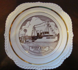 This 9 inch Showboat souvenir plate was sold by the Marshalls.