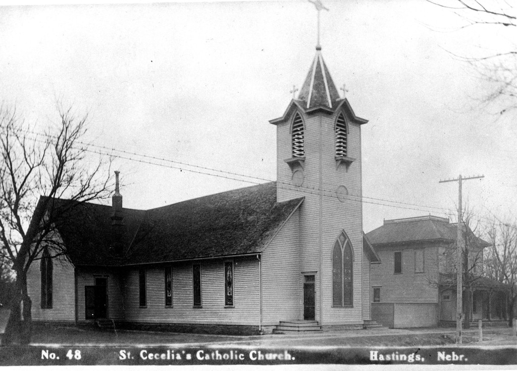 St. Cecilia's Catholic Church The main portion of this frame building was erected on Second Street between Minnesota Avenue and the Union Pacific Railroad tracks.  In 1889 it was moved to Seventh Street between Kansas and Colorado, facing north onto Seventh.  Dan and Leona were married in this building.  The cornerstone for the current brick church was laid just eight days after their wedding.