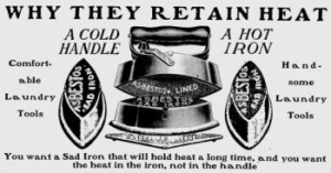 Typical ad for a set of three cores, one asbestos-lined hood plus handle, and an asbestos stand. This one is from 1906.
