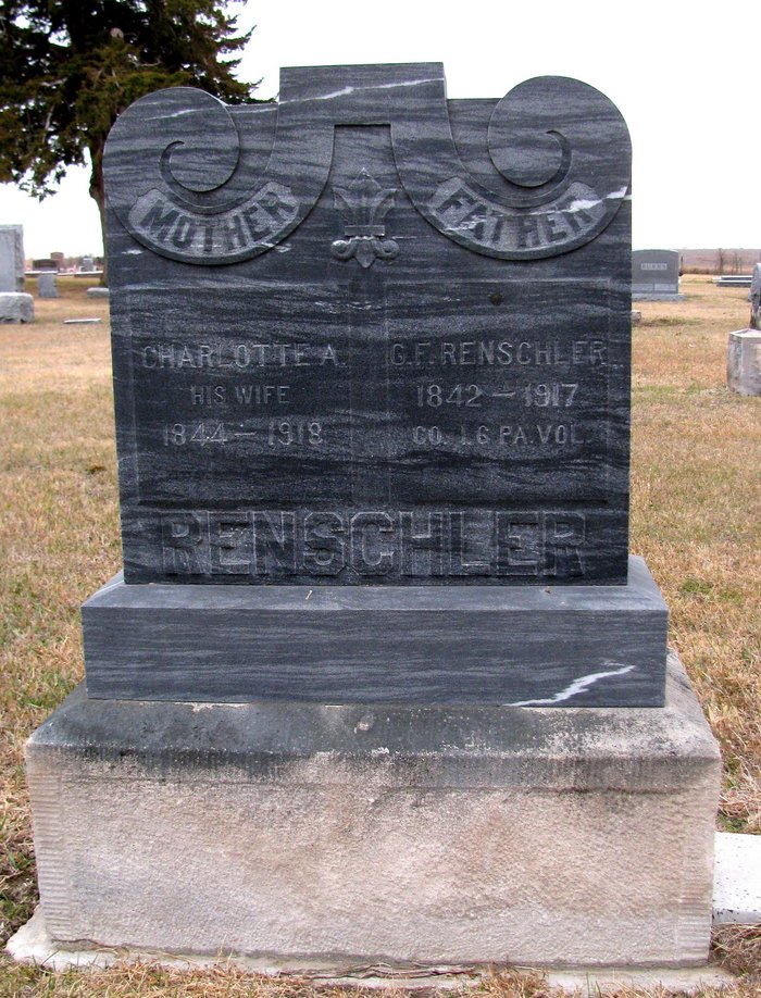 Charlotte and George F. Renschler tombstone in the Webber, Kansas Cemetery.
