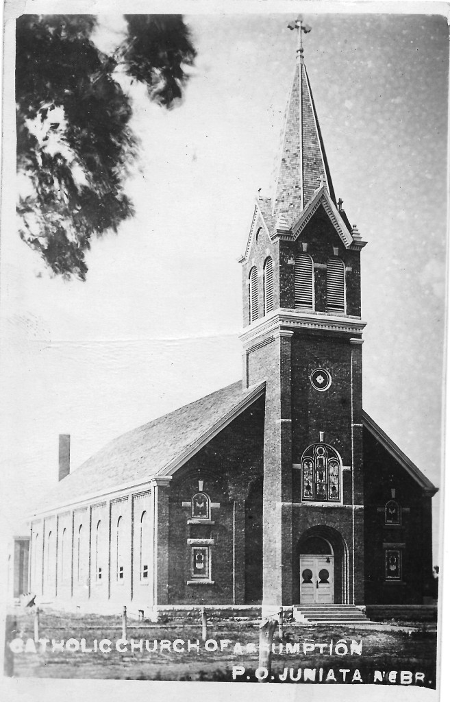 The first brick church at Assumption.  The original of this photo is a postcard printed about 1910.