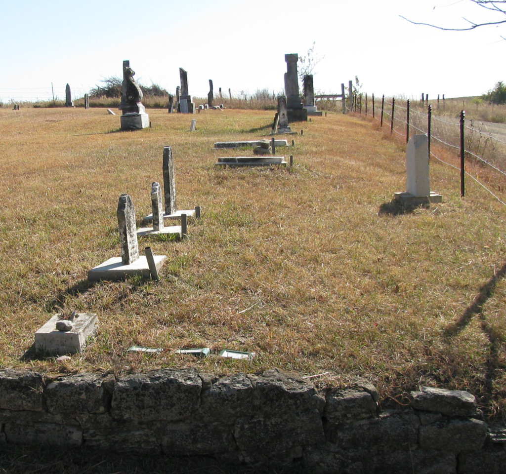 The cemetery is well kept.  Mahala and Anthony's stones are the two cemented down flat on the ground.