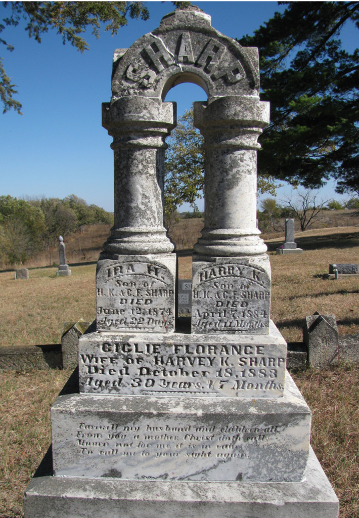 This is the family grave marker of Mahala's brother, Harvey K. Sharp.