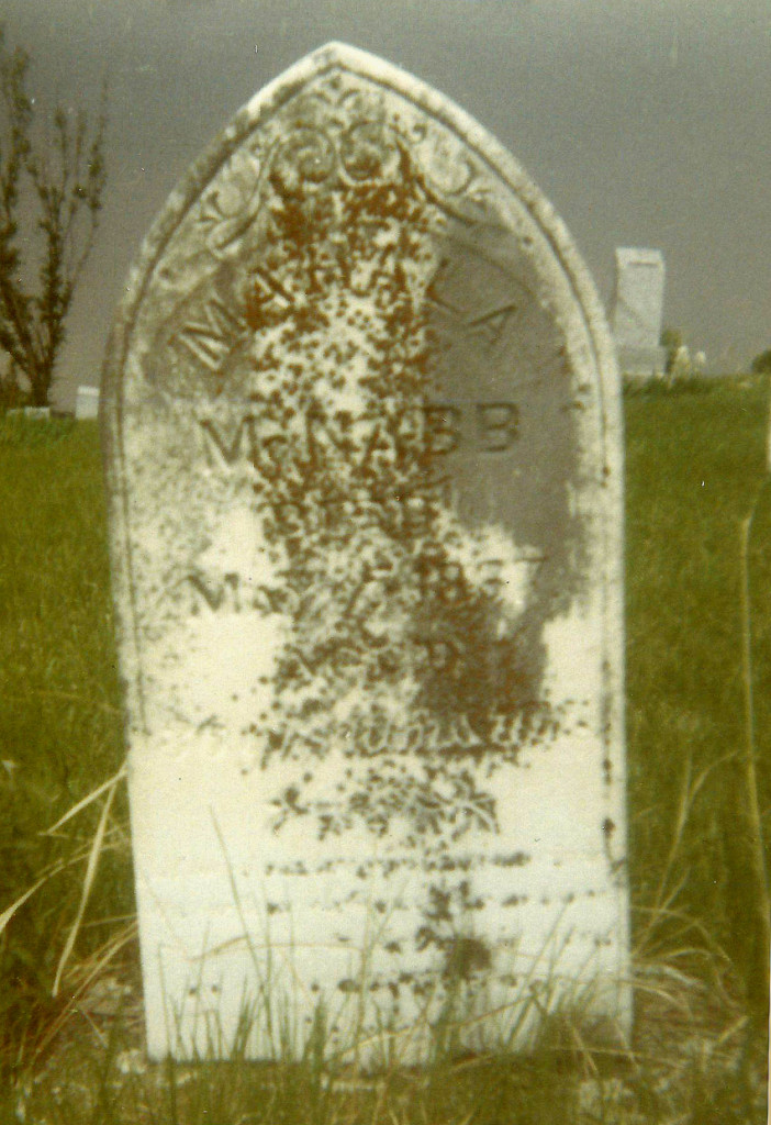 Mahala's stone as I first saw it in 1973.  It was standing upright at that time.