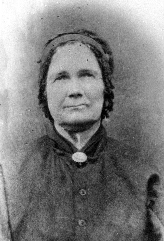 This copy of the original photograph was given to me by Bill Sorenson of Filley, Nebraska.  His mother was a granddaughter of Mahala.  He noted that the original photo had turned a yellow brown.  Many people have remarked that the woman looks too old to be 36 or fewer years old.  Perhaps, however, Mahala had a hard life.