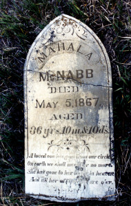 Mahala's grave marker as it looked about 2000, broken and laying on the ground.