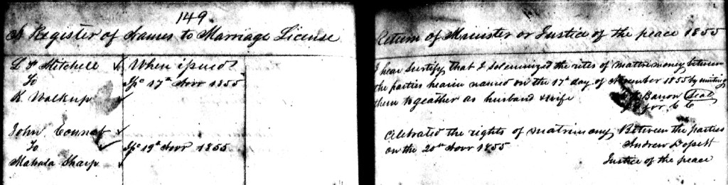 Volume 1, page 149 of Campbell County, Tennessee marriages.   John McNabb's last name is badly misspelled.  Probably caused by a combination of his illiteracy and the clerk's inability to read the Justice of the Peace's handwriting.