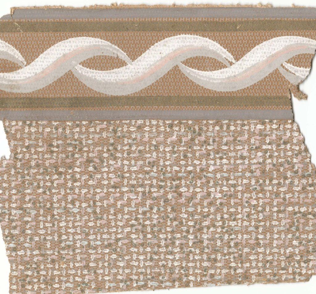 "In 2003 I replaced the wallpaper in the ""front room"" as we called it.  In the late 1950s - early 1960s textured paper without a decorative pattern was the ""modern"" look.  This beige/brown was in our living room during my and Agnes' teenage years.  This same pattern in pink was in my downstairs bedroom and a similar one in grey in the south stairs and hallway."