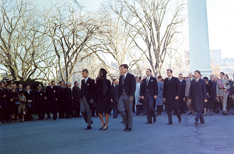 Jacqueline, Robert and Ted Kennedy at head of funeral procession.