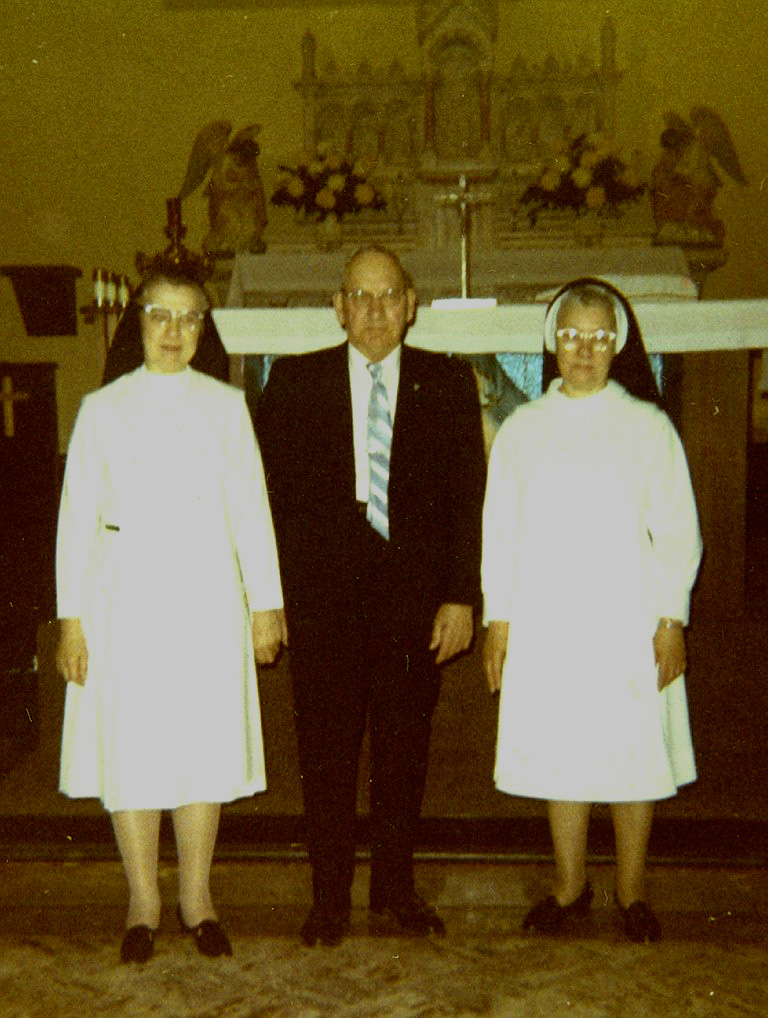 Sister Theodore and Sister Francis with their brother, Dan Kline at the occasion of the Sister's Golden Jubilee.