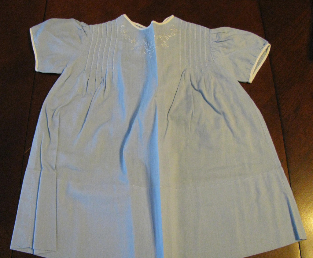 Blue baby dress made by Edna Trausch for Catherine.  When I asked my mother why so many of my baby clothes were blue she replied that at that time blue was the color for girls.
