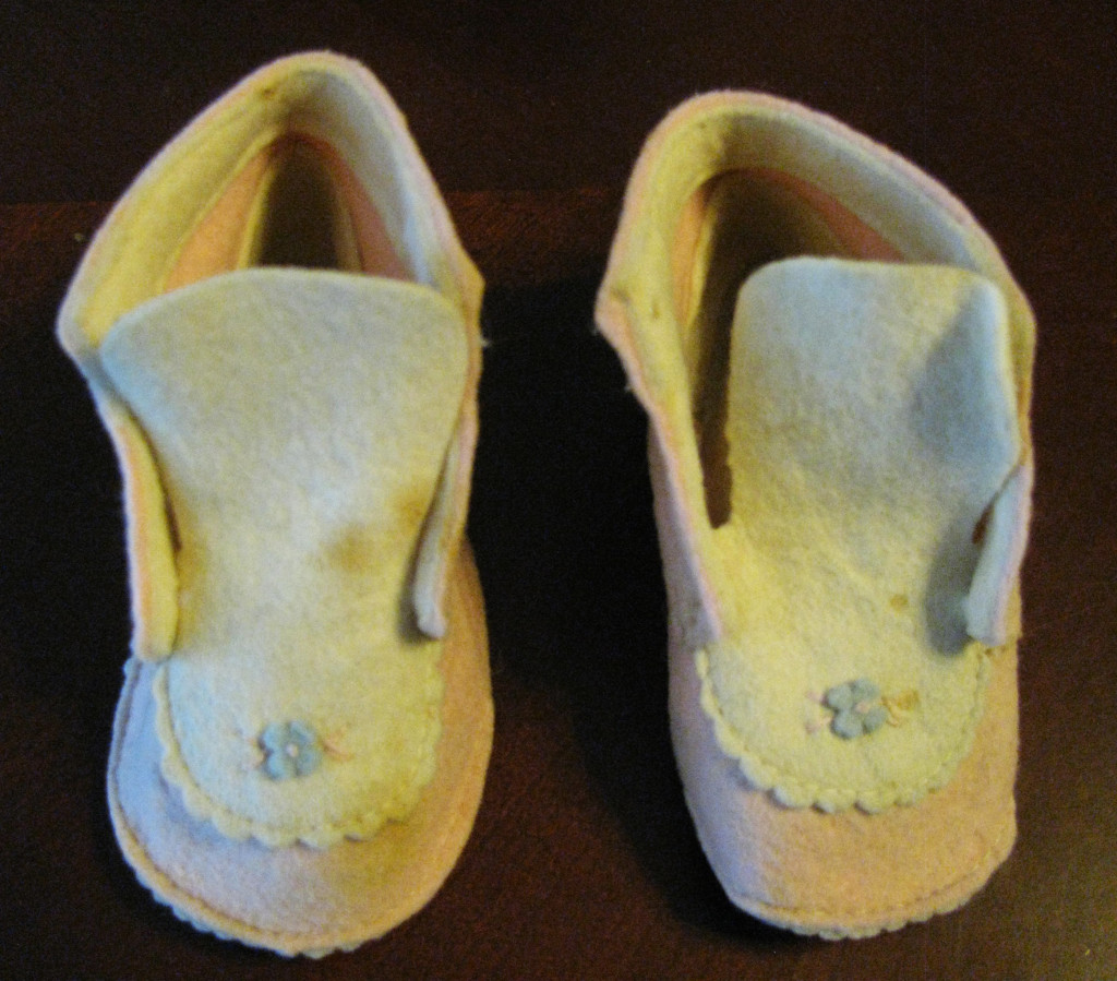 These felt baby shoes are the only baby clothes that were purchased.  Both Agnes and I wore them.