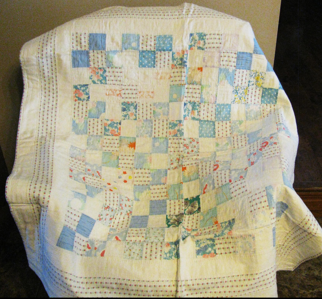 Mom made this baby quilt from chicken feed sacks.  In 1946 fabric was still difficult to obtain.  flour, chicken feed and other commodities came in printed cotton sacks.