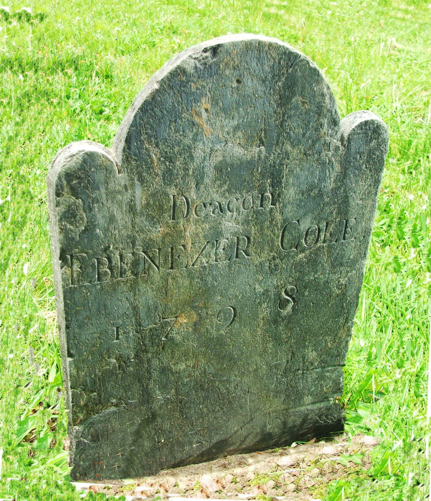 Ebenezer Cole's tombstone in the North Burial Grounds Warren, RI.