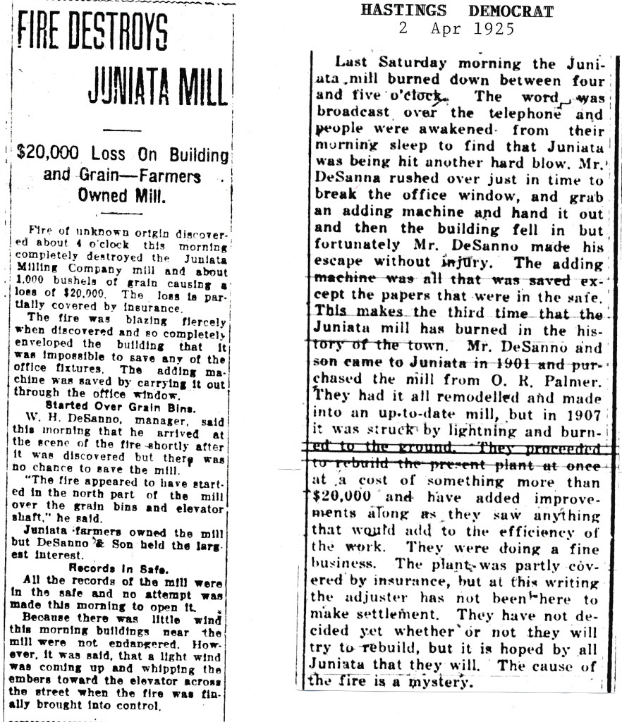 Item on the left is from the Hastings Daily tribune March 28, 1925.  The Juniata Herald had ceased publication in 1917.