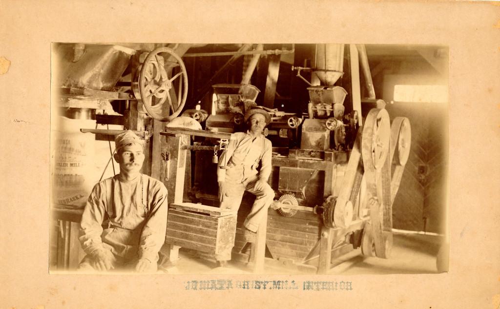 Interior of the Juniata Mill about 1891.  Photo by E. C. Sears of Juniata.