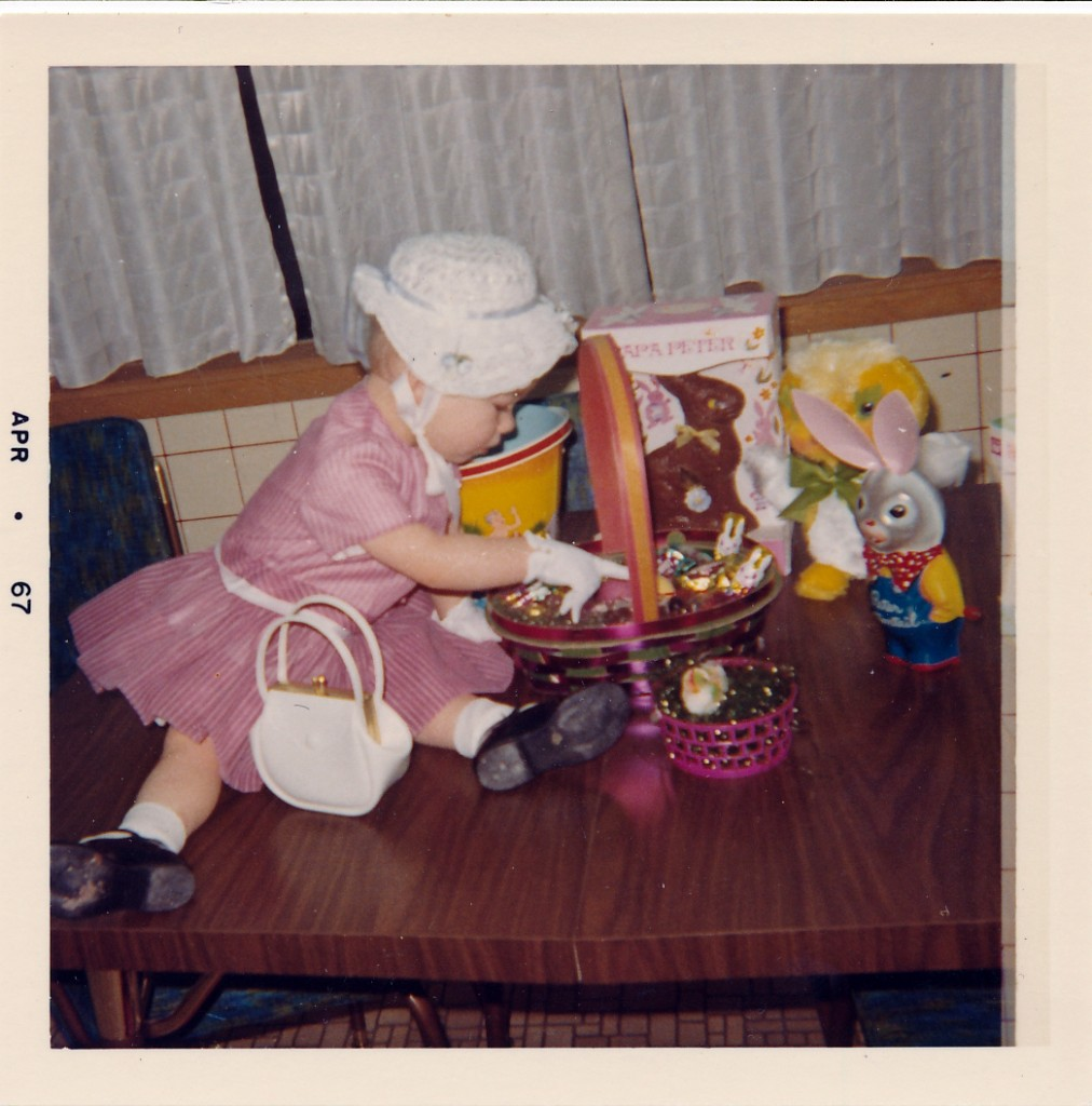 Christina's first Easter.  You can tell she was an only child at that time.  The Easter basket is the one I had throughout my childhood.