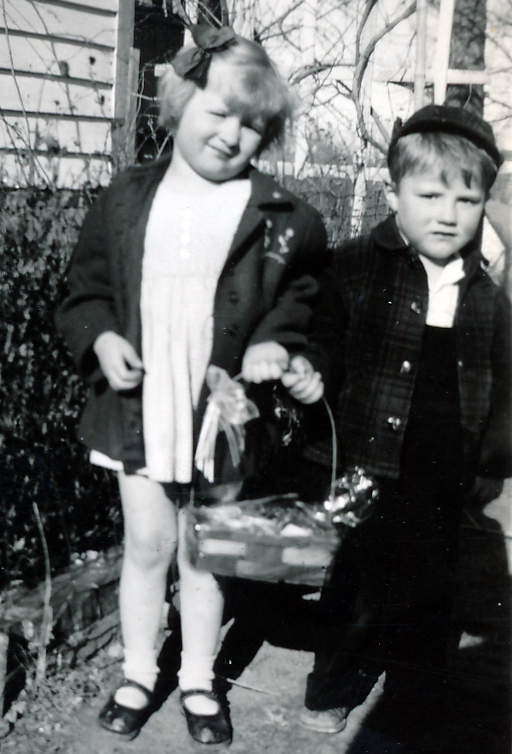 Penny and Pat with Easter basket about 1947.