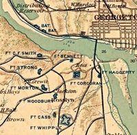 Map showing forts defending Washington DC.