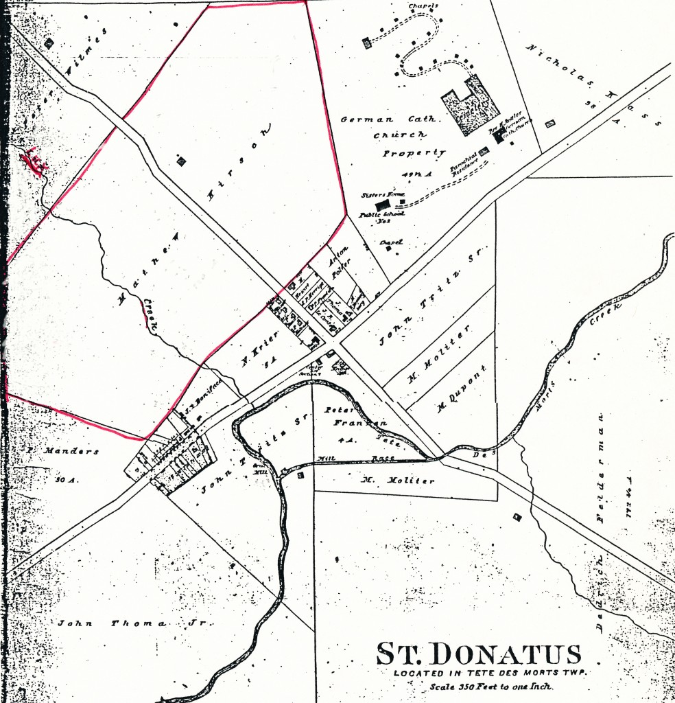 The Lux farm is outlined in red on this 1905 map.  By that time the farm was owned by daughter Mary's second husband, Mathew Kirsch.  Notice that the creek is named Lux Creek.
