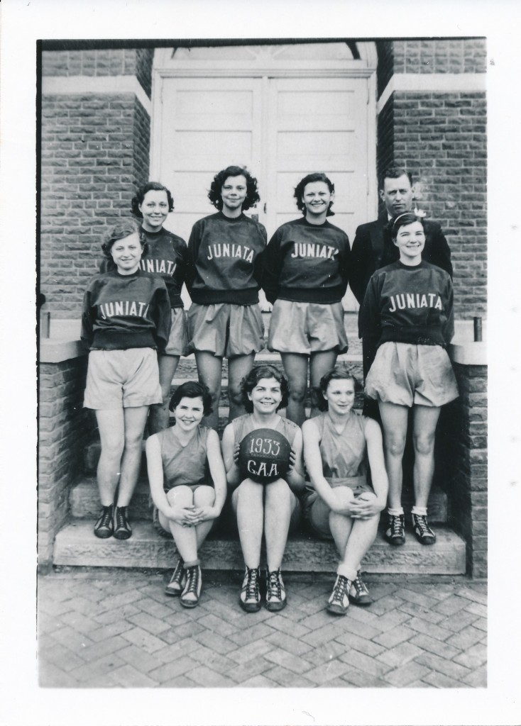 Juniata High School's 1933 girls basketball team. Maxine is on the left in the middle row.